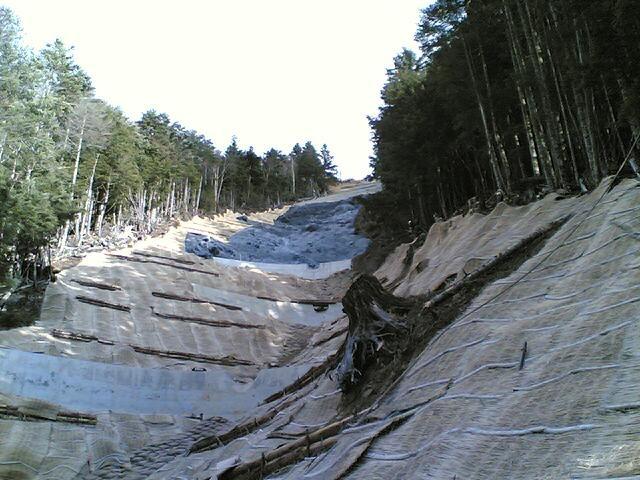 Construction in Yamanashi Prefecture afforestation; forest conservation.  Construction was by mounting the lifeline.  山梨県での治山工事現場。命綱を装着して工事しました。