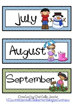 Months of the Year Flashcards for daily calendar - with seasons (Aussie)