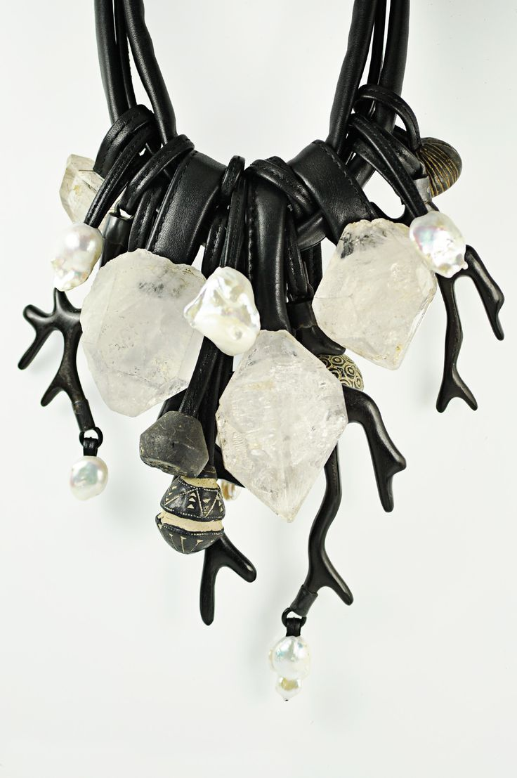 Monies Mountain Crystal, Ebony, Ceramic, Pearl Necklace