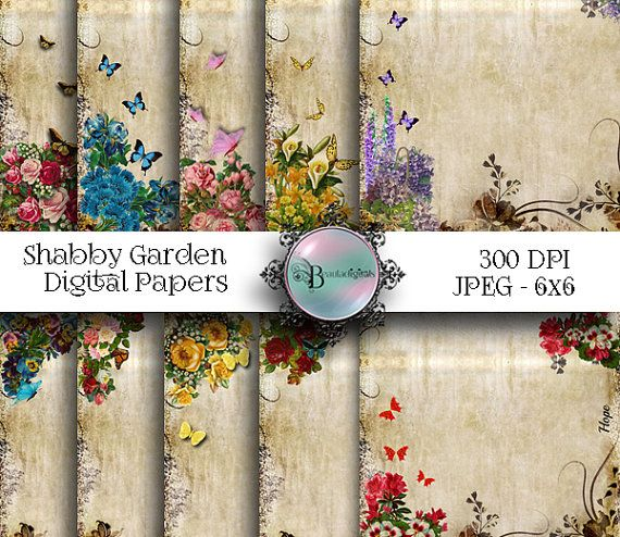 10 Shabby Tattered Floral  Digital Papers  by Beauladigitals