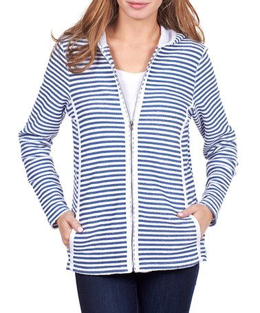 Navy Nautical Stripe Zip-Up Hoodie - Women by FDJ French Dressing #zulily #zulilyfinds