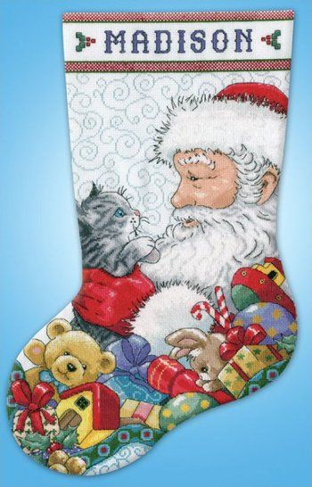 Santa and Kitten Christmas Stocking - Cross Stitch Kit