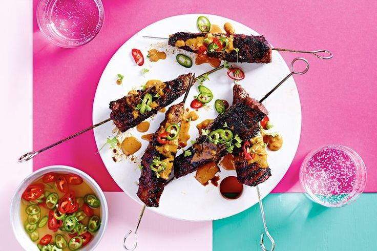 """""""Don't waste time threading small pieces of meat onto skewers, this steak version's super quick and easy to make,"""" says Warren Mendes."""