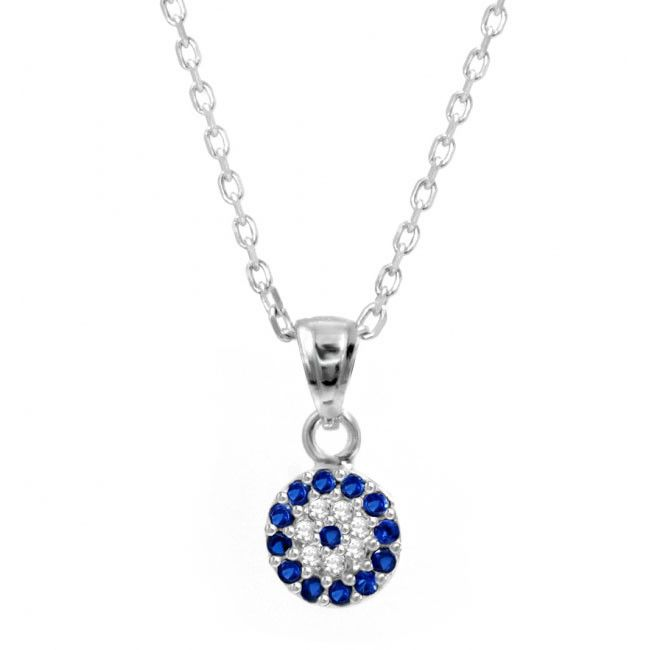 Sterling Silver evil eye necklace with blue and clear cz stones