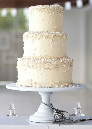 3 Tiered White & Ivory Pearl cake.  So lovely!  Great for weddings, showers, anniversary parties, baptisms, & christenings.