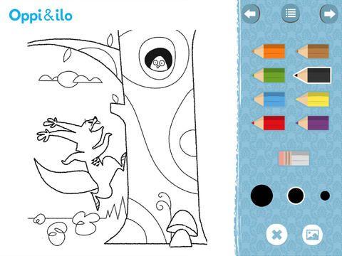Heti Hätiin -applikaatiossa voit värittää värityskuvia.