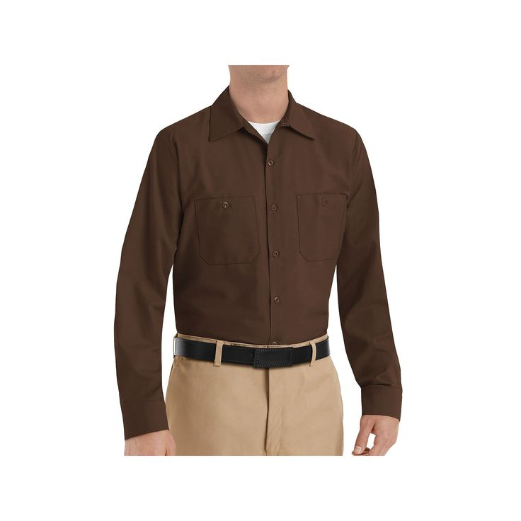 Men's Red Kap Classic-Fit Industrial Button-Down Work Shirt, Size: Medium, Brown