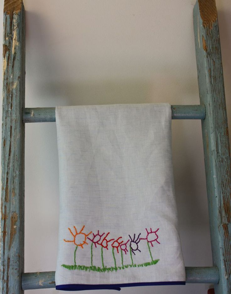 Turn your child's art work into embroidery!: Kids Drawing, Tea Towels, Gift Ideas, Children, Handmade Gift, Tutorial Stitching