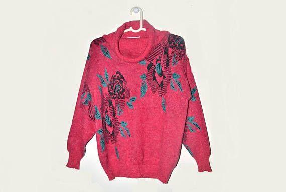 Womens Vintage Rose Sweater Cowl Neck Pullover Dark Pink