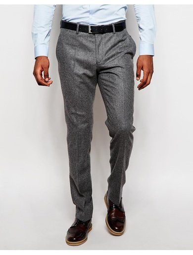 River Island Wool-Blend Slim Fit Suit Trousers - Grey