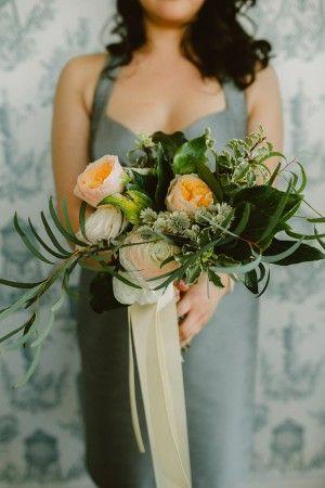 bouquet with greenery - photo by Amber Gress http://ruffledblog.com/debonair-wedding-at-the-wythe