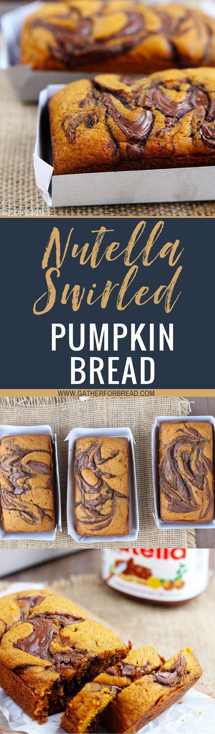 Nutella Swirled Pumpkin Bread - Moist pumpkin bread swirled with adelicious flavor of Nutella. Chocolate and pumpkin pair up perfectly in these fall loaves. A favorite autumn quick bread.