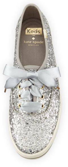 Love these silver glittered keds for kate spade http://rstyle.me/n/tees6nyg6