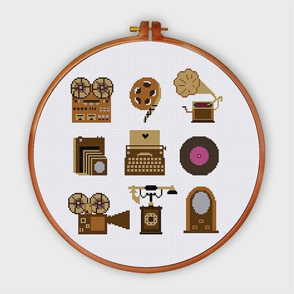 Items Vintage cross stitch pattern gramophone vinyl record telephone