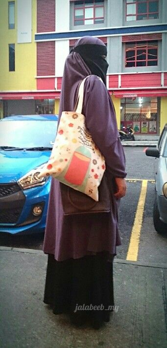 #ootd purple french jilbab with niqabi totebag