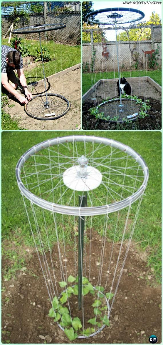 DIY Bike Wheel Trellis Instruction - DIY Ways to Recycle Bike Rims