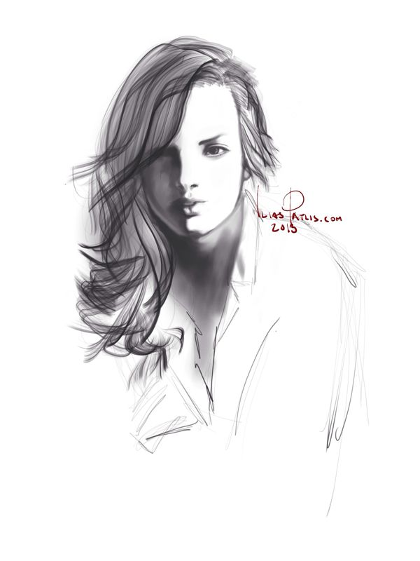 iPad painting of model Katrina Elizabeth