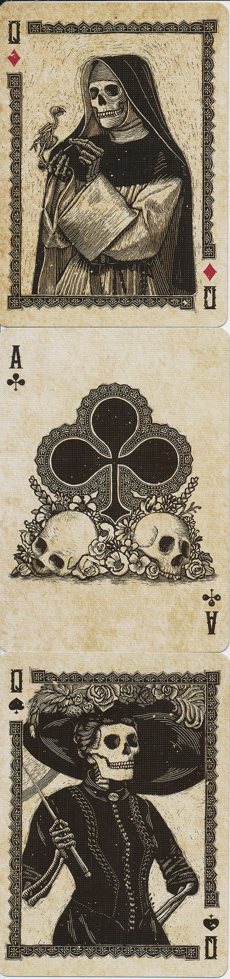 Q♦ A♣ Q♠ Calaveras Playing Cards.
