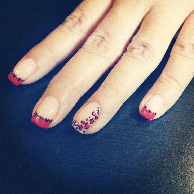 """Leopard heart nails #shellac #shellacnails #shellacqueen #nataliehaynes #nataliesnails #redlandsca #nailart #naildesign #frenchmanicure #rednails…"""
