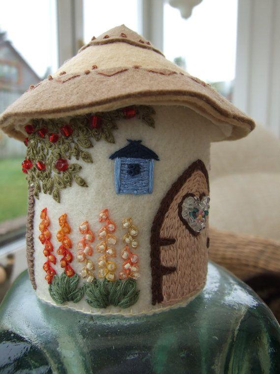 Felt English Country Cottage Pincushion by sweetheartsandroses