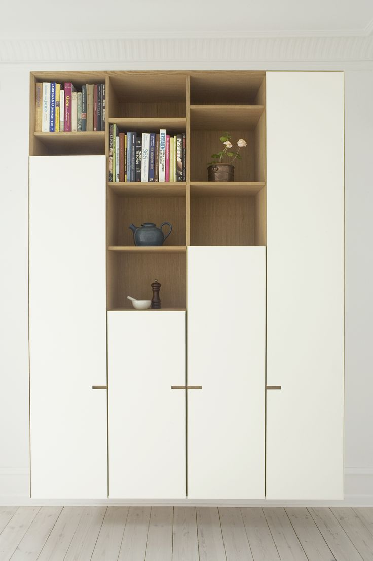 Warm oak and white laminate - the tall unit from our latest bespoke kitchen Kildevældsgade. #scandinavian #minimalism #kitchen #design