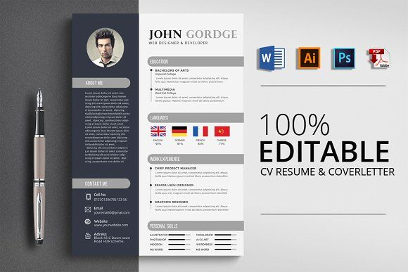 Creative Cv Resume Word Design Resume Words Creative Cv Resume Design Template