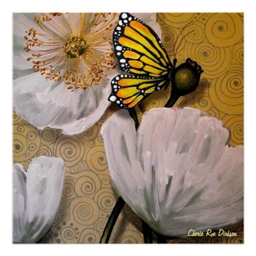 Yellow #Butterfly on White #Poppy Posters by Cherie Roe Dirksen ( #art )