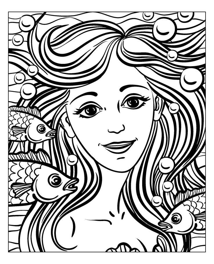 Free coloring page coloringadultmermaidbynatuskadpi