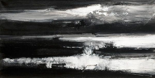 John Virtue, Norfolk No. 4. Acrylic, black ink and shellac on linen, 2009, 75.6 x 149.9 cm. Photo: Courtesy Marlborough Fine Art.