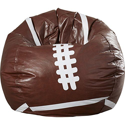 Sports Theme Brown and White Finish Pear Shaped Caleb Large Bean Bag Chair 200 Pounds Weight Capacity for Teens ** Want additional info? Click on the image.