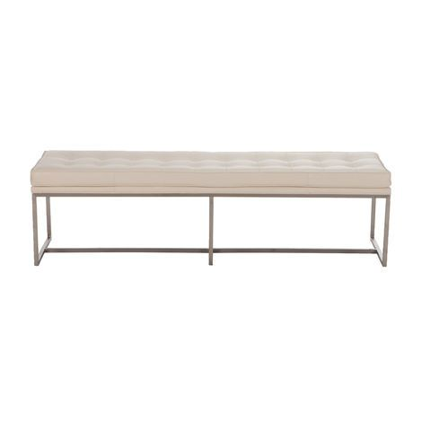Modern love - the impeccably tailored Matteo bench in every size has a sleek, brushed stainless steel base. Choose a smooth top or a biscuit-tufted top with or without buttons, in fabric or leather.