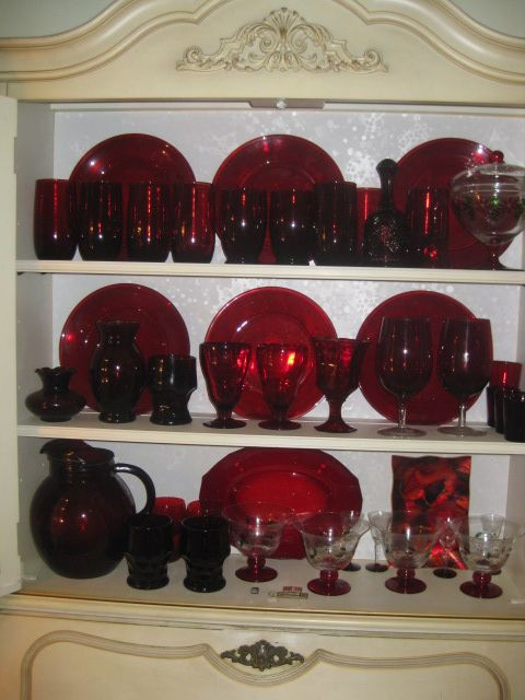 I have these in my kitchen handed down from my mama and daddy! Red Depression glass~Teresa❤️