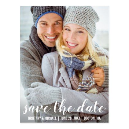 Modern Save The Date Engagement Photo Postcard WSB - postcard post card postcards unique diy cyo customize personalize