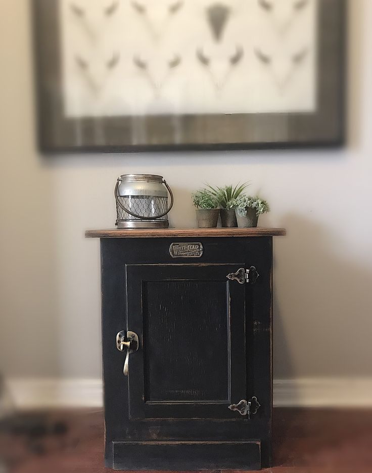Unique Vintage Black Cabinet , White Clad Solid Wood Icebox TV Stand, Cabinet, Credenza,Cabinet, End Table, Nightstand, Rustic Decor, Boho
