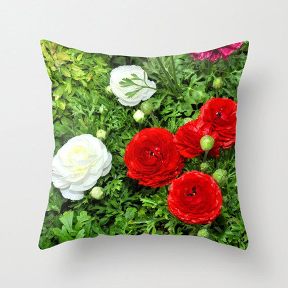 Red and white dahlias on green background photo pillow cover.  Gifts by Diane Greene Lent