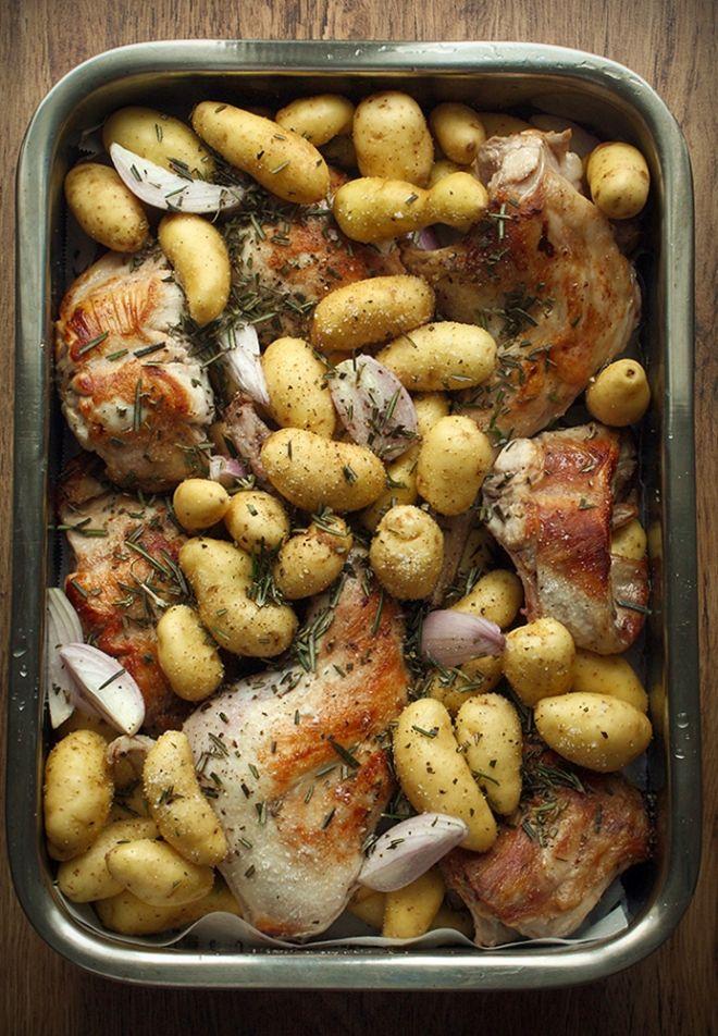 Roasted rabbit with chorizo and baby potatoes