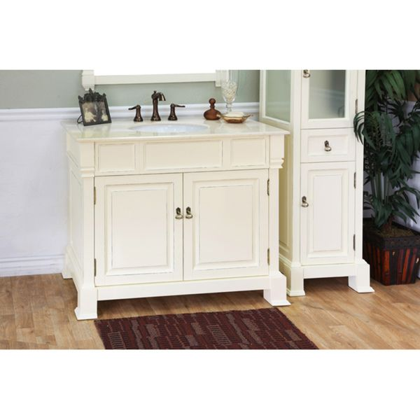 Olivia 42 Inch Cream White Wood Bathroom Vanity   Overstock™ Shopping    Great Deals