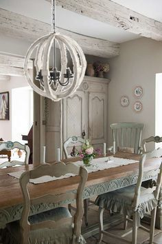Antiqued White Distressed Cottage Wood Orb Chandelier