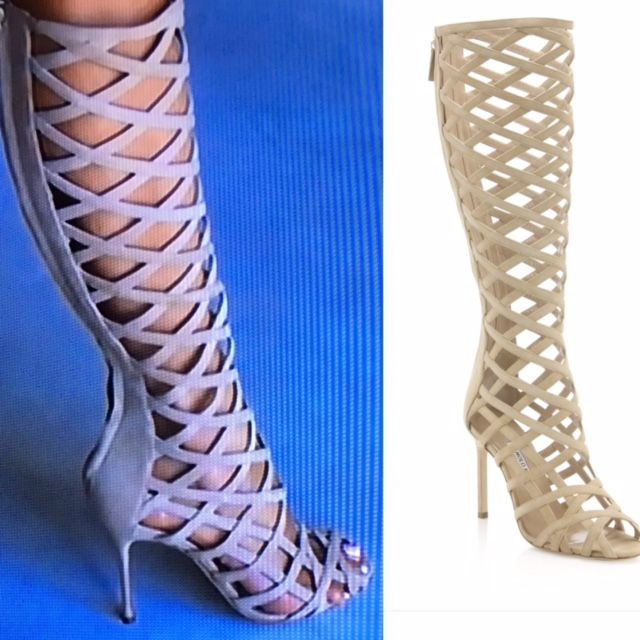 Real Housewives of Beverly Hills Season 7 Episode 2 Fashion: Dorit Kemsley's Suede Caged Gladiator Boots  / Sandals http://www.bigblondehair.com/real-housewives/dorit-kemsleys-suede-gladiator-heels/