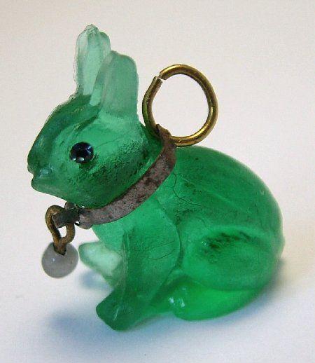 Czech Green Glass Rabbit Cracker Charm