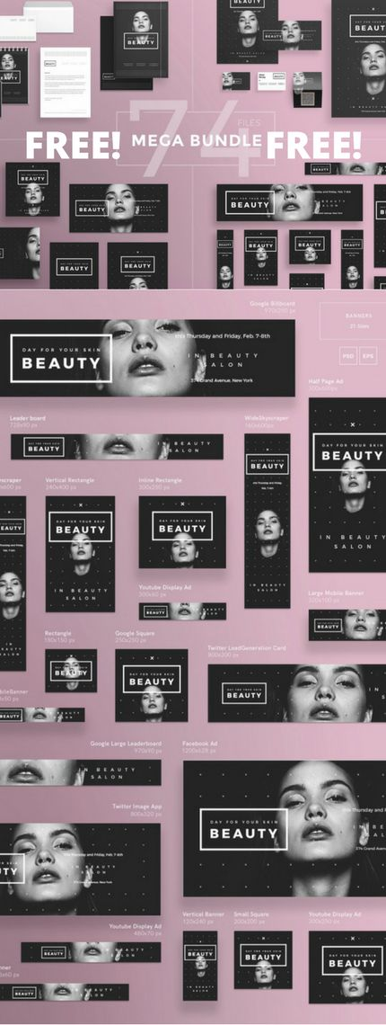 Download 74 Graphic Design Templates for FREE! Business card template, flyer template, poster penplate, social media templates, banner template. Design for beauty salon, spa salon. Branding template for beautician. Design template for hair salon.