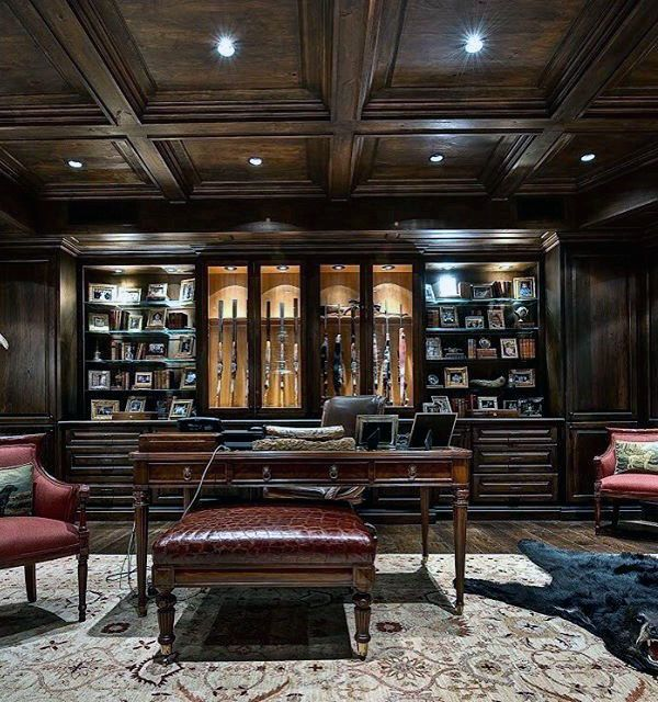Incredible Luxury Dark Brown Wood Gun Room With Office Desk