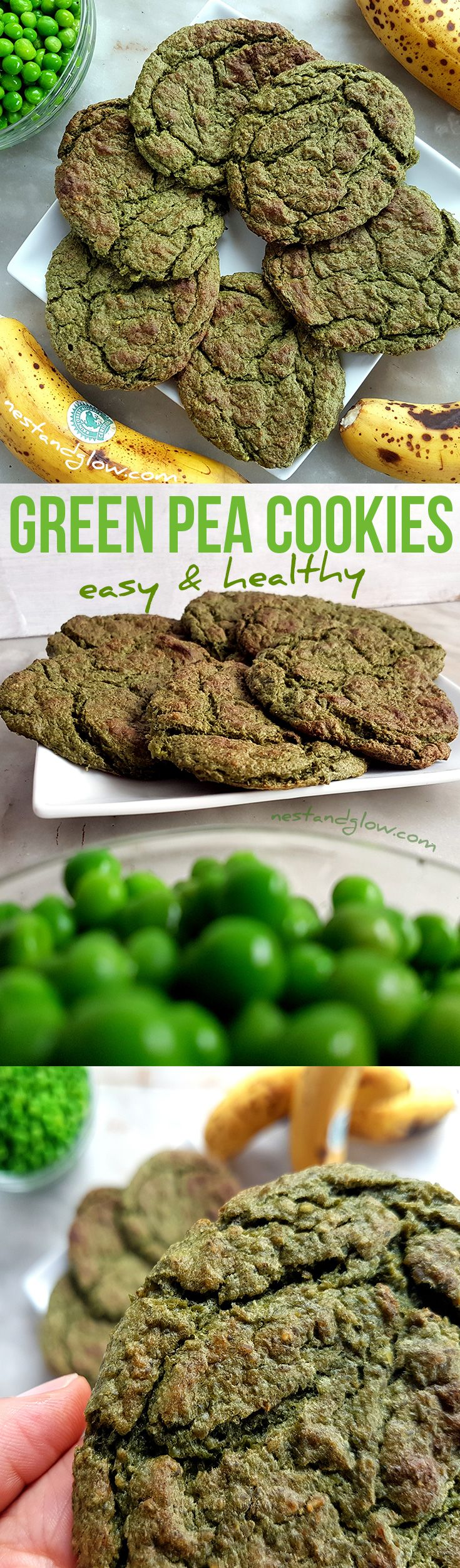 Green Pea Sweet and Salty Cookies Recipe - easy and quick healthy cookies  via @nestandglow