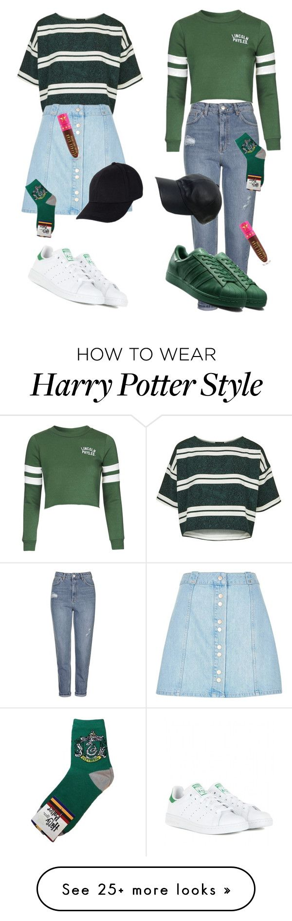 """Go Slytherin"" by pillowtallk on Polyvore featuring Topshop, adidas, River Island, Vianel and Jeffree Star"