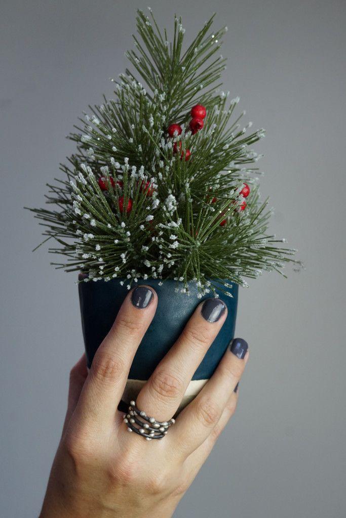 holiday happy tiny faux trees and handmade ceramics modern