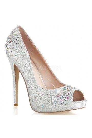 Chaussures de Mariée - Escarpins ouverts Strass - Talons Hauts - Argent nude noir - Accessoires Mariage Cérémonie Soirée