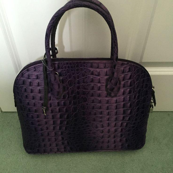 Handbag Italian Leather in Purple