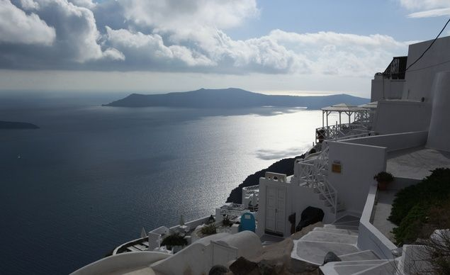 Whether you choose to explore Santorini on foot or on a scooter, the island offers delightful, always surprising vistas. (From: A Greek Island Vacation You Can Afford!)