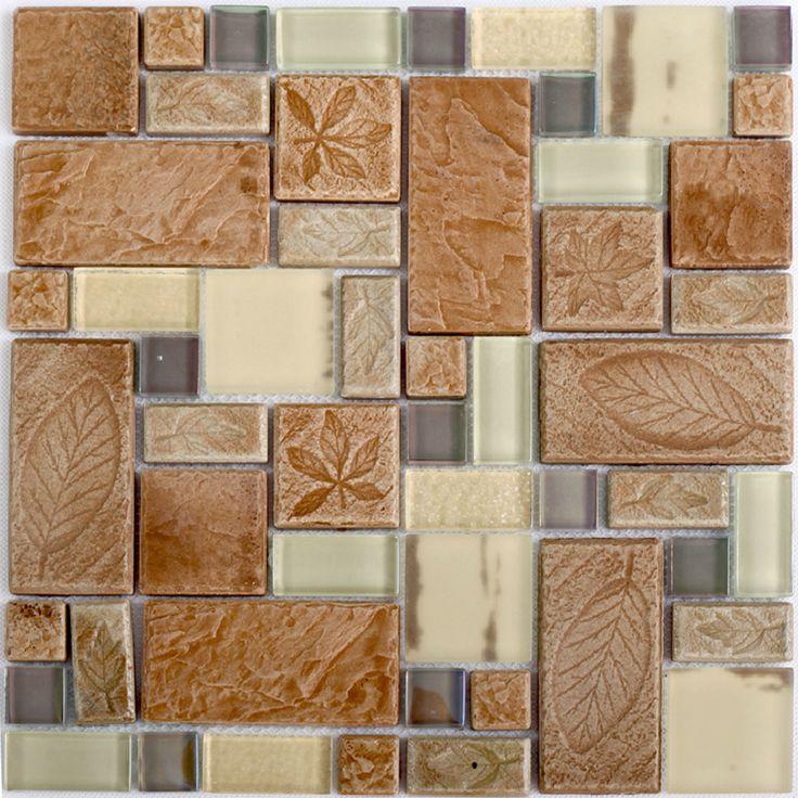 Beige Glass Tile Kitchen Backplash Leaf Pattern Ceramic