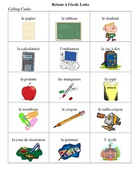 French Back to School Bingo Game $
